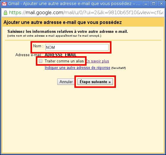 Configuration des comptes e-mails pour Gmail - Étape 6