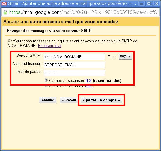 Configuration des comptes e-mails pour Gmail - Étape 7