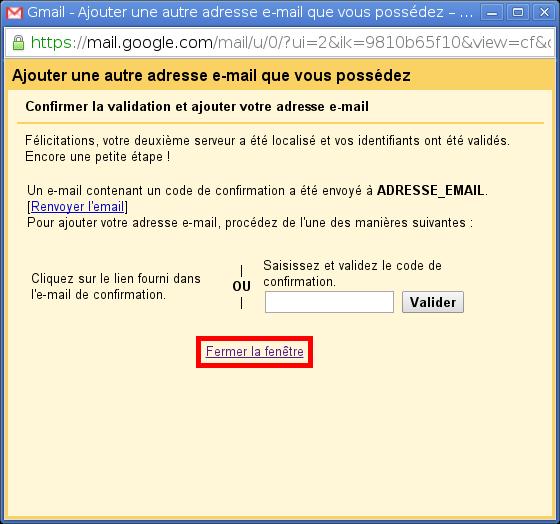 Configuration des comptes e-mails pour Gmail - Étape 8