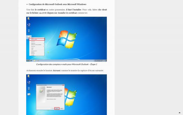 Capture d'écran de l'ancienne présentation des captures d'écrans dans les articles de blog