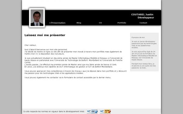 Capture d'écran de l'ancienne page d'accueil de mon site